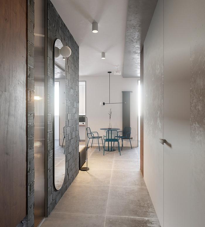 Gương và tủ chứa đồ được bố trí ở lối vào của căn hộ