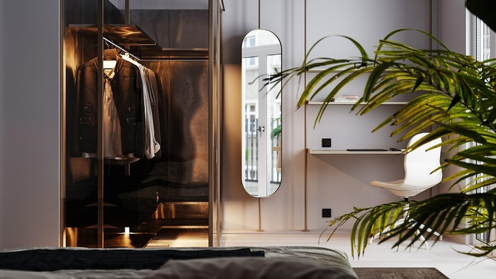 Đồ đạc trong phòng ngủ rất tối giản nhưng đều toát lên vẻ đẹp sang trọng, hiện đại và cuốn hút