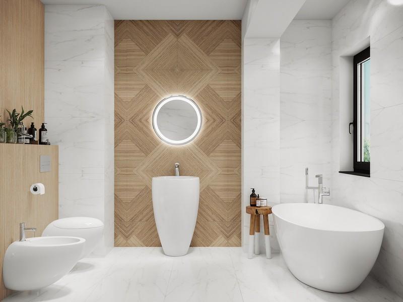 Tính cân đối của căn phòng tập trung xung quanh một chậu rửa tuyệt đẹp. Bức tường ốp gạch giả gỗ phía sau tăng thêm cảm giác gần gũi cho căn phòng.