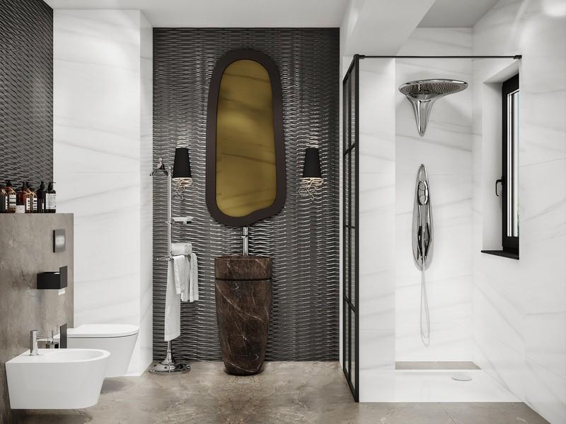 Gương có hình dáng đặc biệt cùng vòi rửa quá khổ tạo nên phong cách riêng cho phòng tắm.