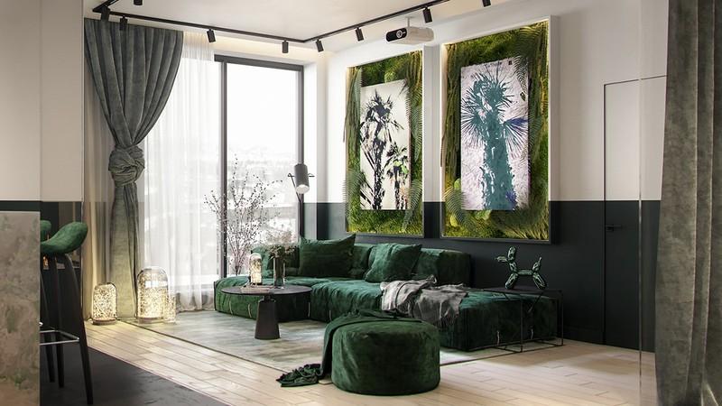 Ghế sofa bọc vải màu xanh, tạo nên sự cuốn hút cho phòng khách