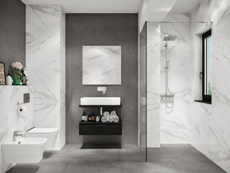 Đá cẩm thạch giúp phòng tắm 4m2 trông hiện đại và sang trọng hơn.