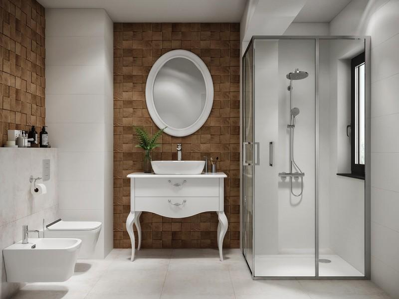 Bồn rửa tay mang phong cách cổ điển hài hòa với những món đồ nội thất hiện đại khác trong phòng tắm.