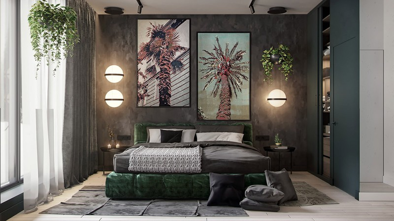 Bóng đèn hình tròn phát sáng ở giữa, tăng khả năng chiếu sáng cho khu vực phòng ngủ