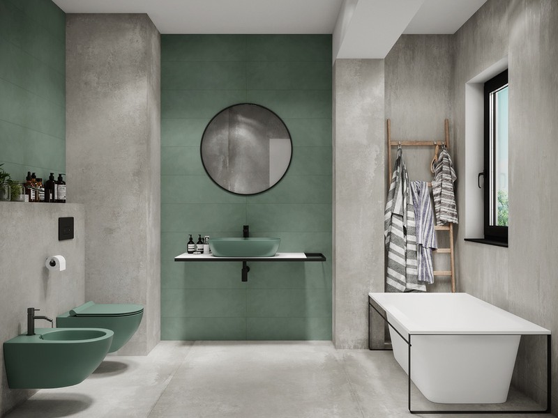 Phòng tắm màu xanh bạc hà mát mẻ.