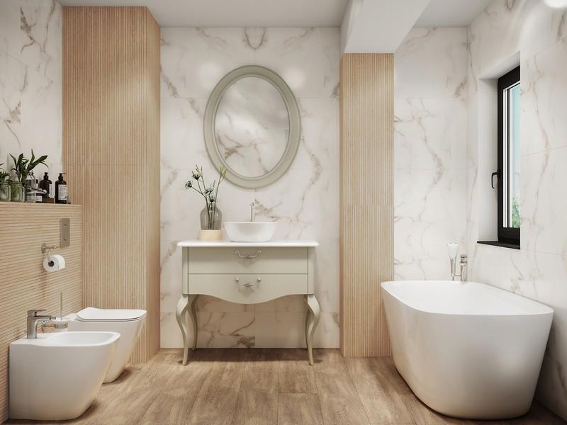 Bức tường tre tự nhiên mang đến cho phòng tắm một bầu không khí thanh bình.