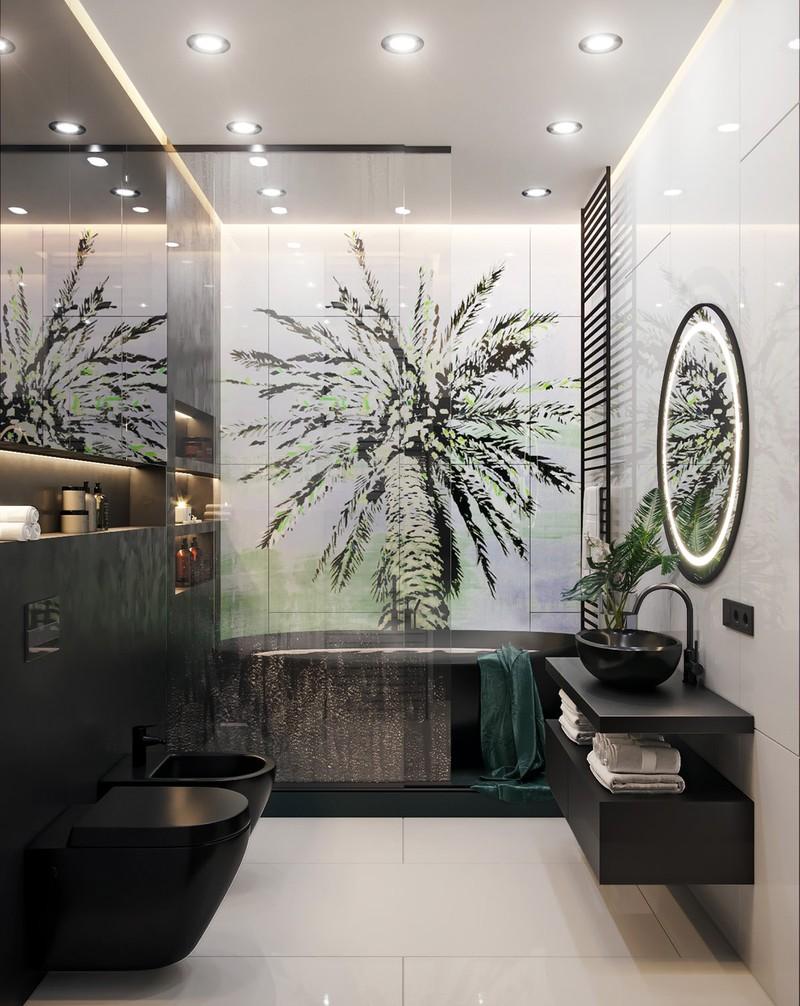 Một tác phẩm nghệ thuật hình cây được đặt phía sau bồn tắm
