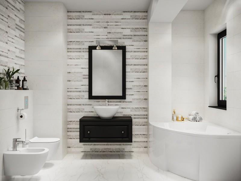 Bồn tắm cắt góc biến phòng tắm trở nên độc đáo hơn.