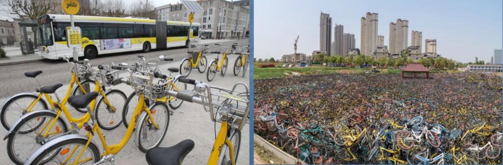 Hệ thống Chia sẻ xe đạpVélo'V tại Pháp rất thành công do đầu tư đồng bộ và kết nối với hệ thống giao thông công cộng Thành phố;  Việc phát triển không kiểm soát, quản lý yếu kém, không hợp lý…Kết quả tạo ra những núi rác xe đạp vô thừa nhận.Nguồn : Hanoidata*