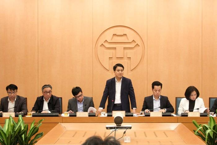 Chủ tịch UBND TP Hà Nội Nguyễn Đức Chung phát biểu tại cuộc họp. (Ảnh: Khánh Nguyễn)