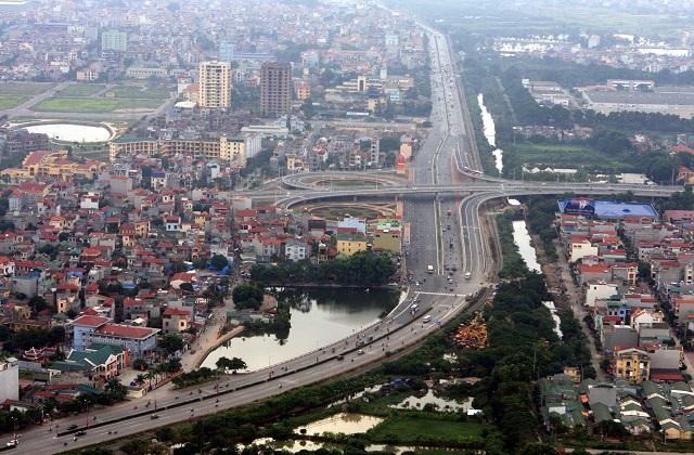 Một phần huyện Thanh Trì nhìn từ trên cao. Ảnh: Tuấn Anh