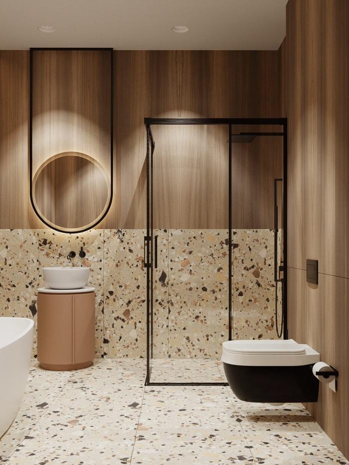 Phòng tắm đẹp, rộng rãi với nhiều chi tiết nội thất sang trọng, ấn tượng. Nhà thiết kế vẫn trung thành với gam màu cam, đỏ để tạo nên tổng thể hài hòa cho căn hộ.