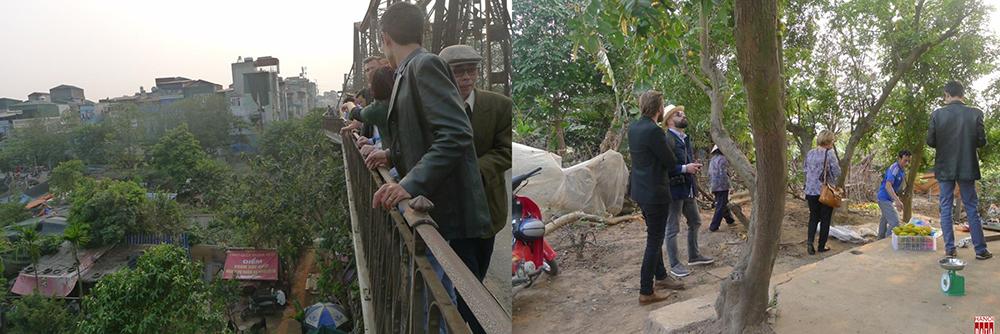 Trên cầu Long Biên nhìn xuống bờ vở và vườn khế dưới bãi giữa sông Hồng năm 2017