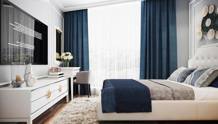 Phòng ngủ được thiết kế theo phong cách cổ điển của Le Grand Jardin