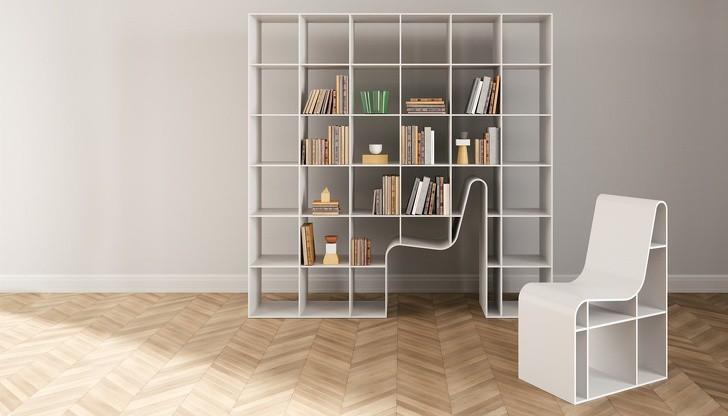 Một thiết kế giá sách khác giúp tiết kiệm không gian