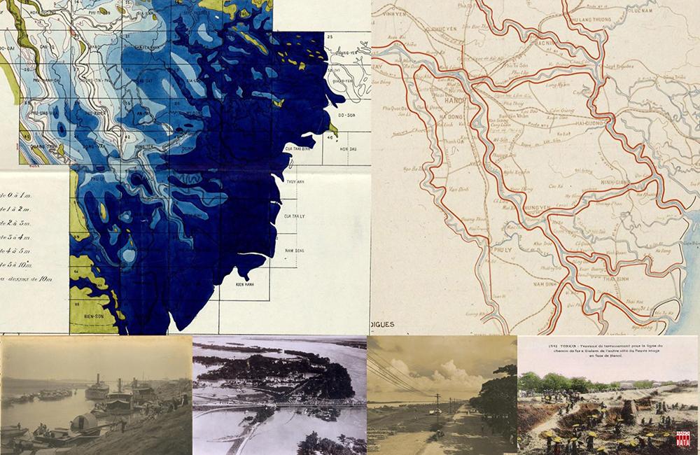 Bản đồ địa hình và kế hoạch đắp đê năm 1905  . Tầuthủyvẫn hoạt động vào mùa cạn ; Đường sắt qua cầu Long Biên trong trận lũ lớn 1926 ; Con đường bên sông Hồng ,Hà Nội ; Nông dân châu thổ Bắckỳ  tham gia đắp đê đầu  thế kỷ 20
