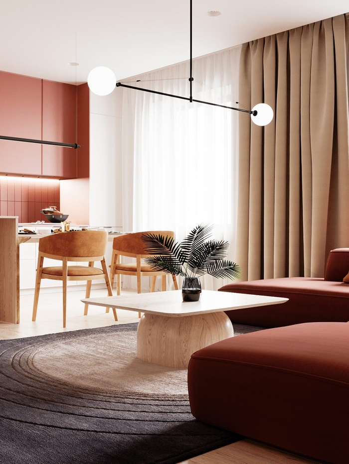 Kiến trúc sư dùng nhiều nội thất có gam màu cam trong khu vực phòng bếp.