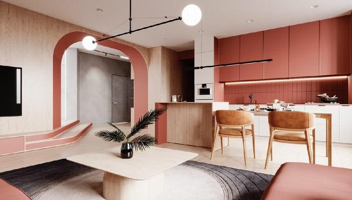 Song song với đèn chiếu sáng ở phòng khách, đèn treo tuyến tính cũng được treo ở phòng bếp để cung cấp đủ ánh sáng theo yêu cầu của chủ nhà.
