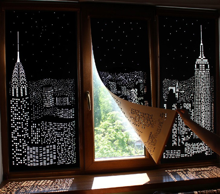 Chiếc rèm cửa độc đáo này giúp cho bạn cảm thấy như đang sống giữa kinh độ New York hoa lệ