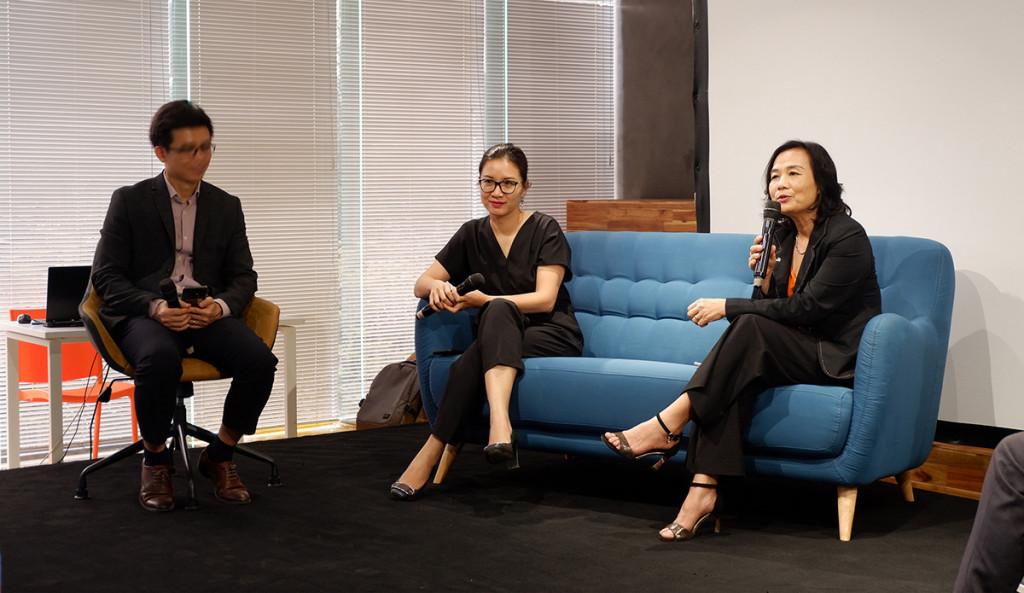 KTS. Lã Thị Kim Ngân (Hội KTS Việt Nam) và KTS. Thái Lan Anh (đại diện PLA) có những chia sẻ tâm huyết với những định hướng về kết nối và phát triển cộng đồng kiến trúc cảnh quan