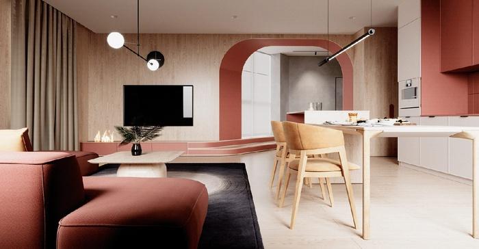 Phòng khách nối liền với phòng bếp, không có tường ngăn để giúp không gian thêm rộng mở.