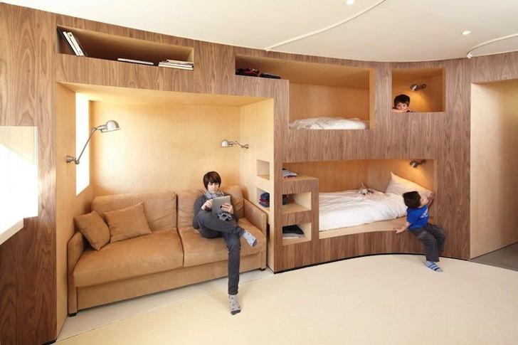 Đồ nội thất tích hợp ghế sofa, giường ngủ, kệ sách
