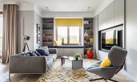 Ngôi nhà trang trí nội thất màu xanh và vàng lạ mắt