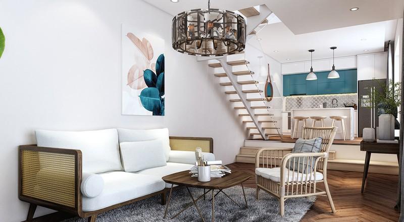 Ghế sofa có khe thoáng khí kết hợp với đèn hình quả, cho phép gia chủ mơ về một không gian sống yên bình, tĩnh lặng