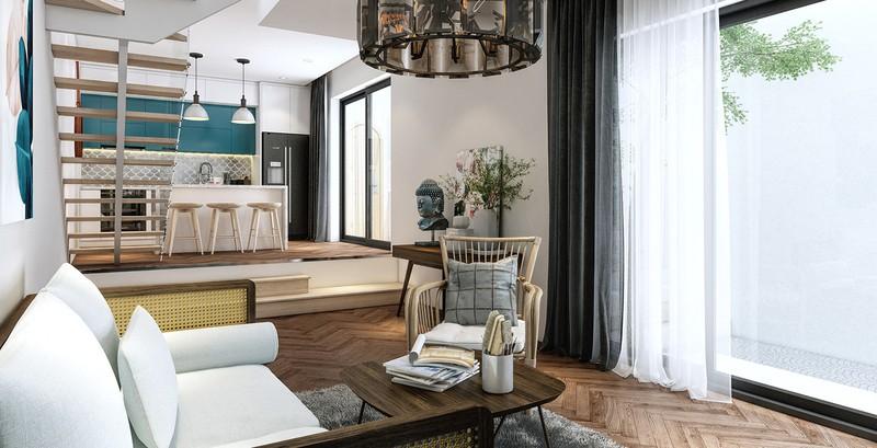 Sàn gỗ hình xương cá, giật cấp giúp phân biệt giữa khu vực nhà bếp và phòng khách