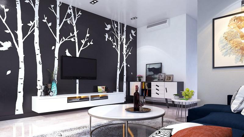 Giấy dán tường sau tivi, sơn màu đen, tạo sự tương phản mạnh mẽ