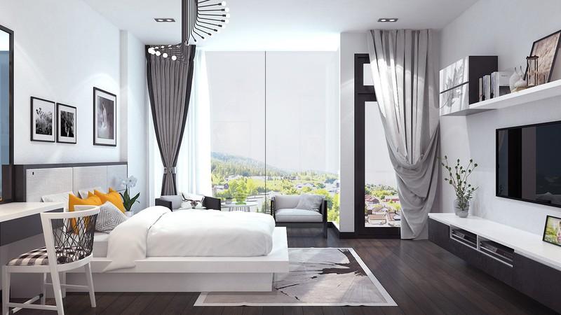 Bước vào phòng ngủ, gam màu trắng tiếp tục thống trị, tăng thêm sức hấp dẫn cho căn phòng