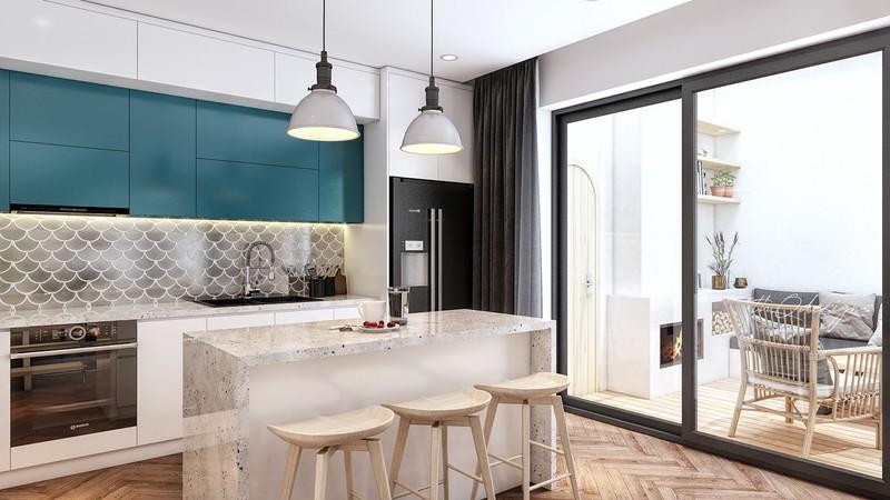 Tủ bếp trên màu xanh ngọc bích là một trong những màu sắc thường được sử dụng trong phong cách nội thất thập niên 70