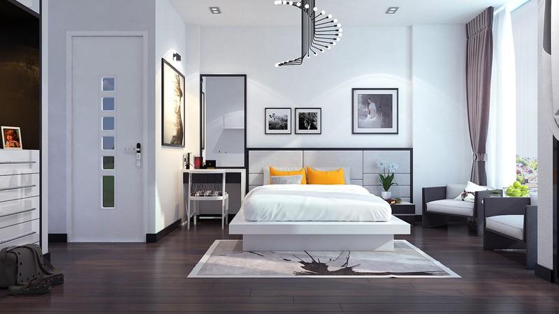 Sàn phòng ngủ bằng gỗ tự nhiên, giúp căn phòng trông ấm cúng hơn