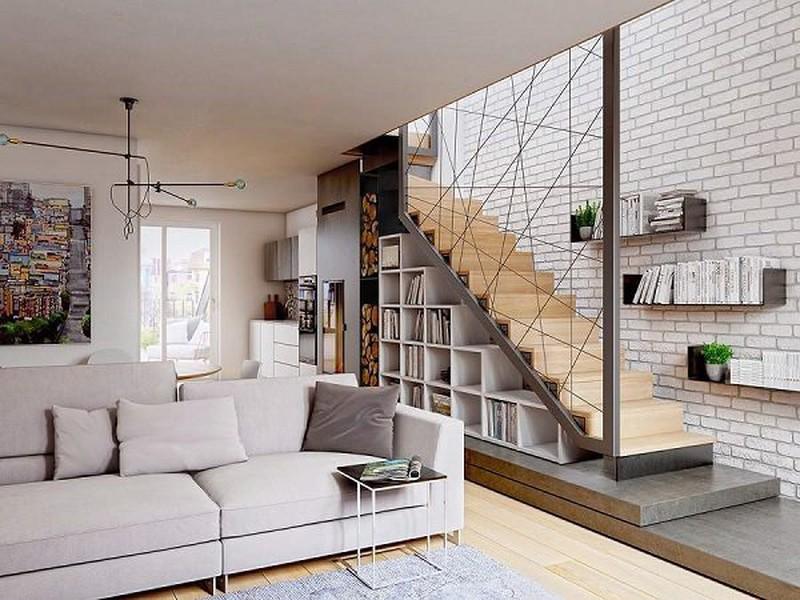 Cầu thang dọc là giải pháp tốt nhất cho những mẫu nhà hẹp ngang