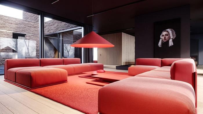 Đầu tiên, hãy tạo các lớp màu trong không gian nhà bạn. Nếu trần nhà và tường nhà tối màu thì bạn có thể lựa chọn bàn, ghế sofa và đèn chiếu màu đỏ. Thêm tấm thảm phòng khách màu đỏ sẽ giúp không gian ấm lên trông thấy.