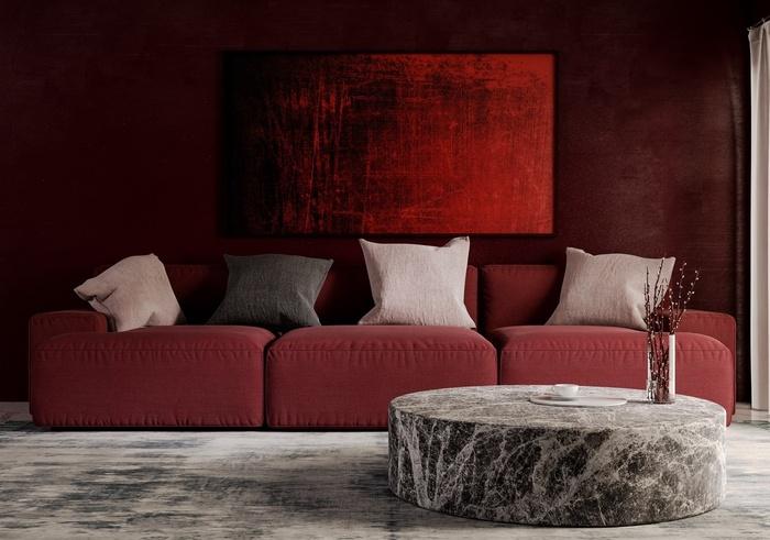 Phòng khách với gam màu đỏ được sử dụng một cách nghệ thuật và đầy tinh tế