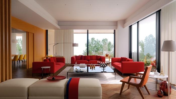 Sử dụng ghế sofa màu đỏ là sự lựa chọn táo bạo nhưng cũng rất hợp lý của gia chủ trong không gian phòng này