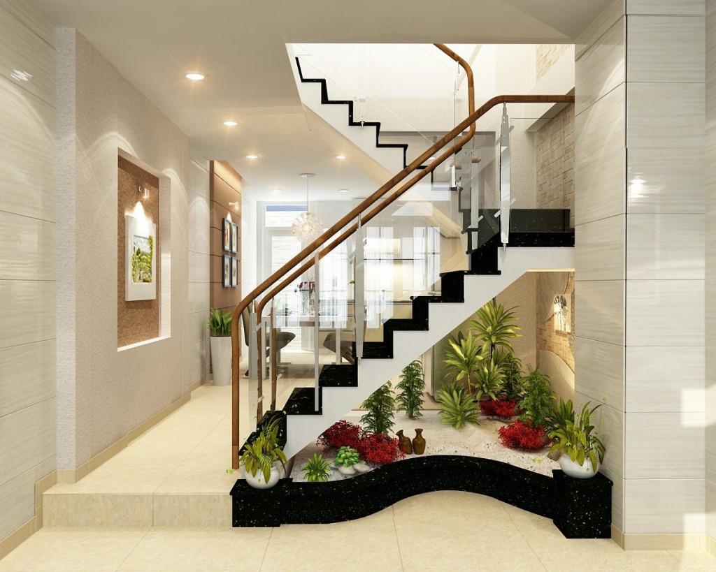 Tiểu cảnh khô phù hợp trang trí gầm cầu thang