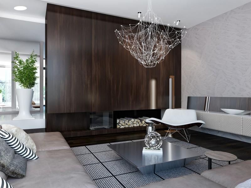 Thảm trải sàn với họa tiết dạng lưới cung cấp cái nhìn giản dị, mộc mạc cho không gian phòng khách