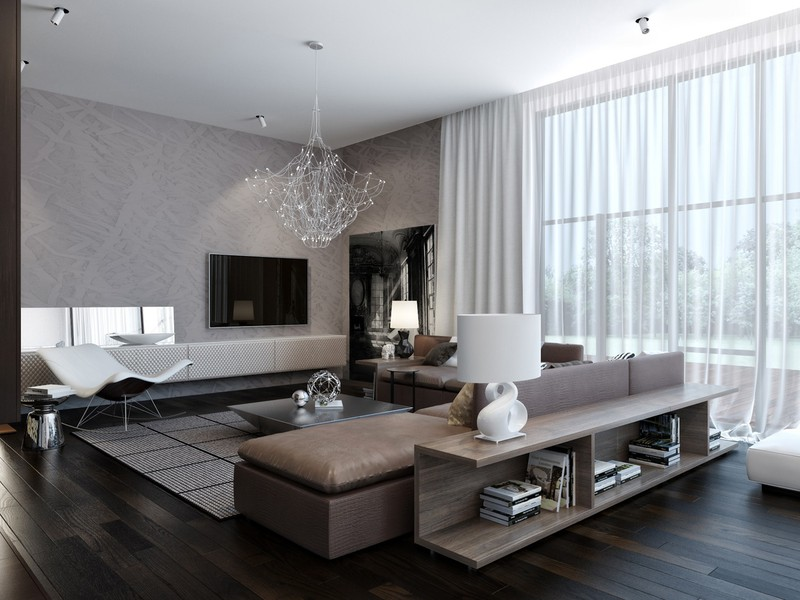 Đồ nội thất thấp phù hợp với cuộc sống hiện đại. Một tấm rèm cửa 2 lớp để chủ nhà dễ dàng điều chỉnh ánh sáng trong phòng theo sở thích