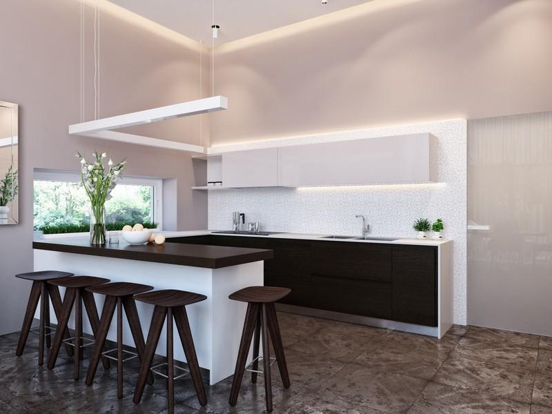 Trong nhà bếp, đá ốp tường nhà bếp màu sáng như những vì sao trên bầu trời