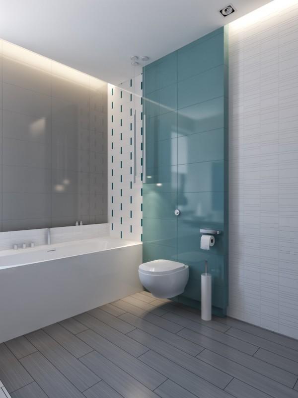 Bức tường màu xanh ngọc khiến phòng tắm trở nên mát mẻ, dễ chịu