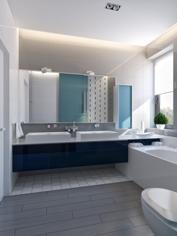 Nội thất hiện đại kết hợp với ánh sáng khiến căn phòng tắm luôn sạch sẽ và thoáng đãng