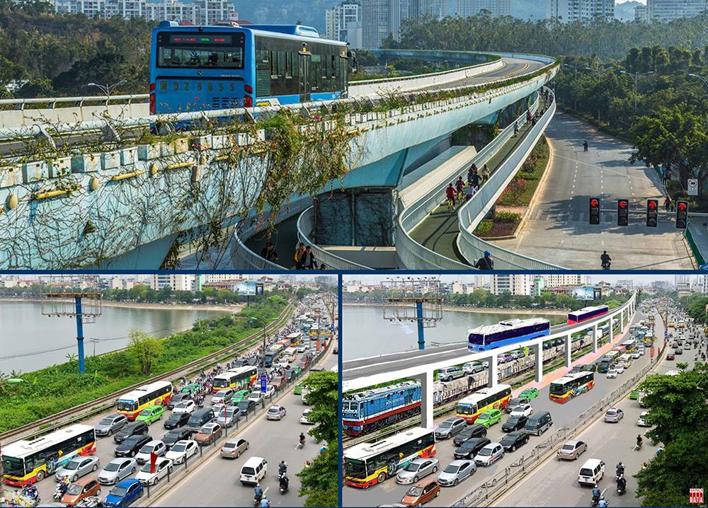 Làn đường ưu tiên cho xe bus (PBL -priority bus lanes) trên cao , bên dưới là đường xe đạp, gợi ý cho giải pháp giao thông đô thị tích hợp -  đa phương thức ; Tại Hà Nội :đường sắt để trống trong khi đường bộ ùn tắc . Đường sắt có thể vận chuyển ô tô vượt qua các cửa ngõ thành phố/ giảm ách tắc cục bộ ;Kết hợp với làn xe bus ưu tiên ,khi đủ điều kiện  có thể chuyển đổi  thành đường sắt đô thị.
