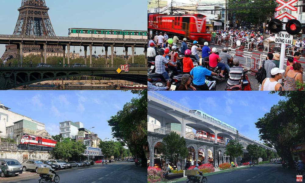Đường sắt bánh hơi trên cầu 3 tầng tại Paris gợi ý cho phương án nâng tầng đường sắt đi qua trung tâm Hà Nội: giảm giao cắt đường bộ, khai thác tàu bánh hơi trên cao và chuyển đổi gầm cầu đường sắt thành khu phố dịch vụ thương mại.