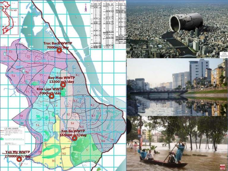 Sơ đồ phân vùng Dự án thoát nước giai đoạn 1. Trộn lẫn thoát nước mưa và nước thải sinh hoạt vào chung cống ngầm. Biến sông Tô và các sông thành kênh thoát nước thải