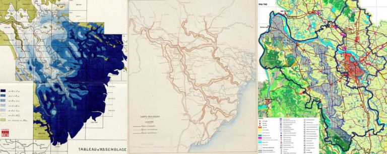 Hình 1: Bản đồ cao độ mặt đất Bắc Bộ ( từ +0m đén hơn +10m), Sơ đồ đê điều Bắc Bộ (1905). Bản đồ tô mầu xanh xác định hành lang thoát lũ bám theo lưu vực sông Đáy và sông Nhuệ trên nền bản đồ Hà nội và tỉnh Hà Tây cũ (2005)
