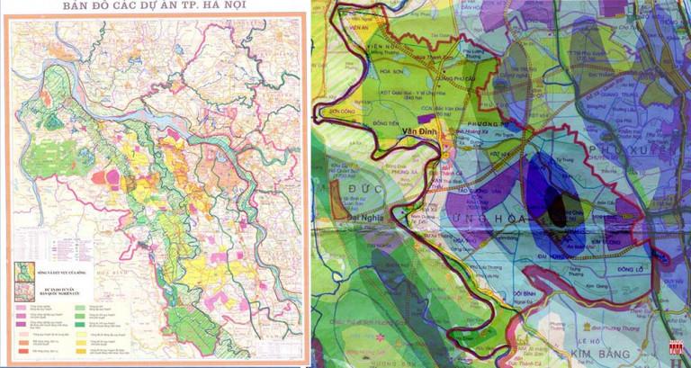 Hình 2: Bản đồ các dự án tỉnh Hà Tây giao đất nghiên cứu quy hoạch đô thị bố trí dày đặc vào Hành lang thoát lũ, vành đai Xanh Hà Nội, trước khi nhập vào Hà Nội (2008). Phóng to khu vực huyện Ứng Hòa: Khu đô thị công nghiệp đặt vào vùng trũng ngập nhất, thậm chí +0m . 2