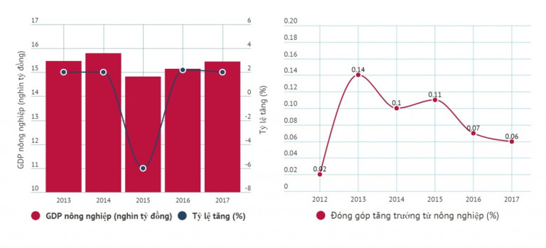 Hình 4: Tỷ lệ đóng góp vào tăng trưởng của nông nghiệp cũng liên tục giảm. Điều đó đồng nghĩa với tốc độ phát triển của nông nghiệp đang tụt lại so với các ngành khác.