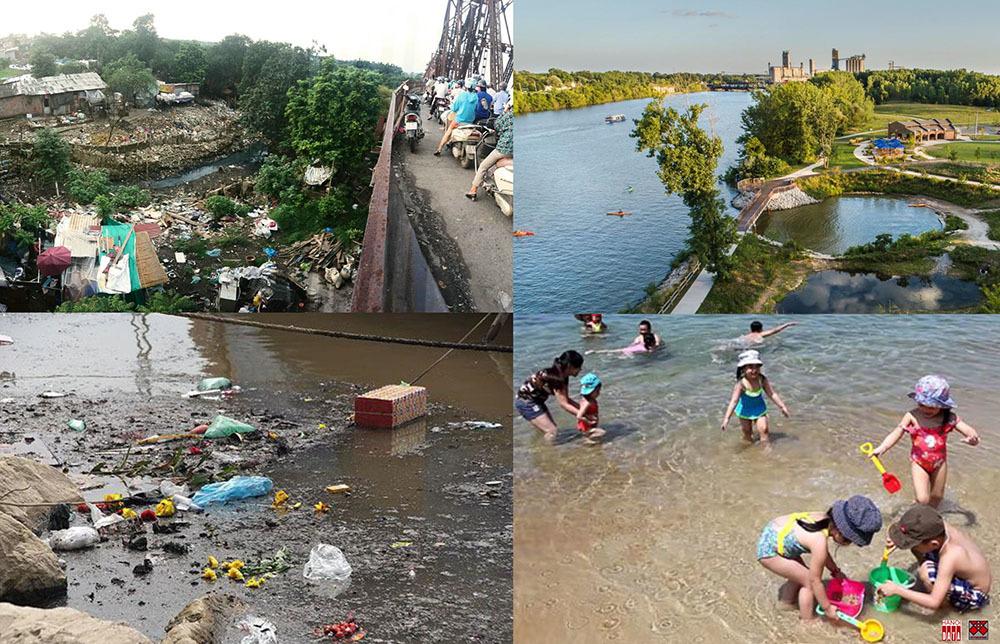 """Để phục hồi tái tạo """"Vành đai xanh"""" hay phát triển các đơn vị tự chủ sinh thái, điều cốt lõi là có đủ nguồn nước sạch. Cần hệ thống thu gom, xử lý toàn bộ nước thải, xử lý tại nguồn  trước khi đổ ra các dòng chảy. Hãy bắt đầu từ sông Hồng, tại chân cầu Long Biên và dọc theo dòng sông chảy qua Thành phố"""